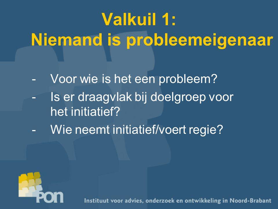 Valkuil 1: Niemand is probleemeigenaar -Voor wie is het een probleem? -Is er draagvlak bij doelgroep voor het initiatief? -Wie neemt initiatief/voert