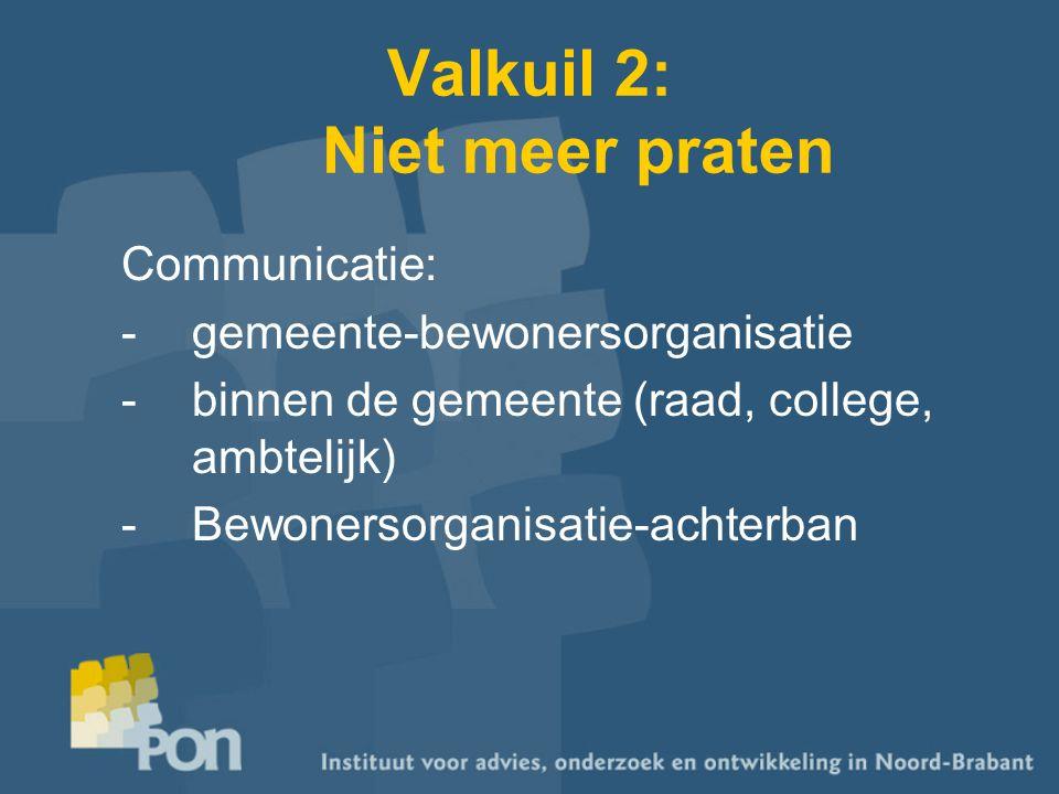 Valkuil 2: Niet meer praten Communicatie: -gemeente-bewonersorganisatie -binnen de gemeente (raad, college, ambtelijk) -Bewonersorganisatie-achterban