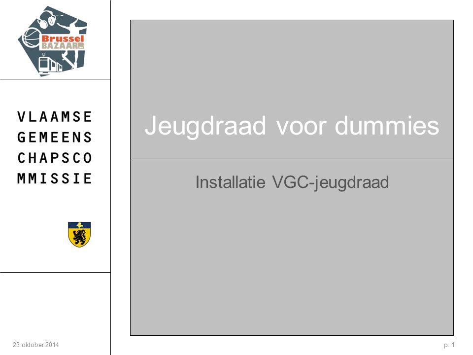 p. 123 oktober 2014 Jeugdraad voor dummies Installatie VGC-jeugdraad