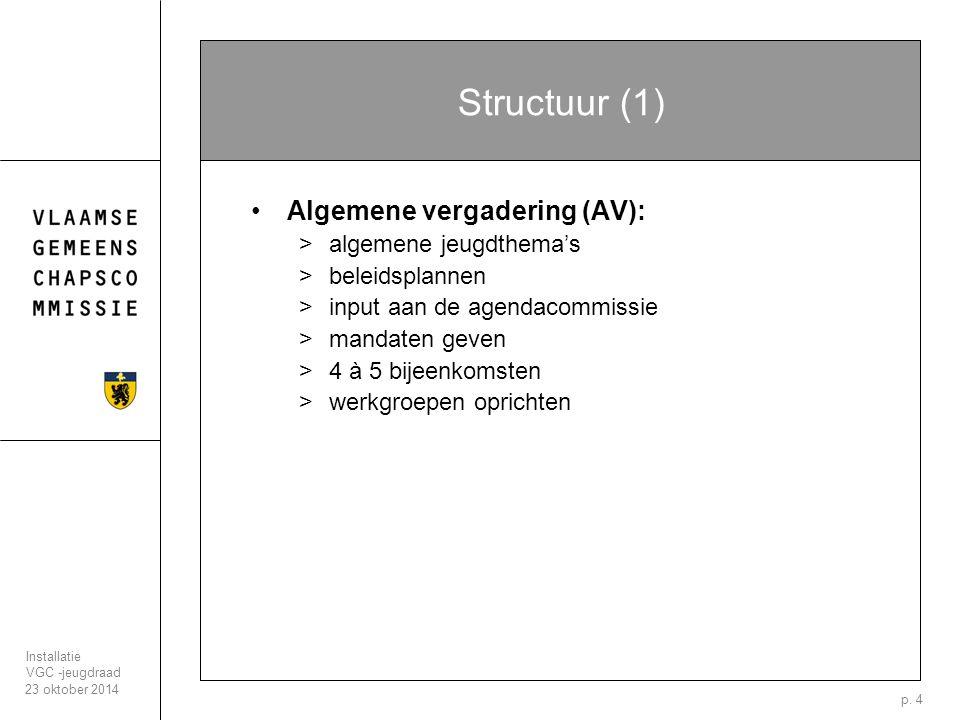 23 oktober 2014 Installatie VGC -jeugdraad p. 4 Structuur (1) Algemene vergadering (AV): >algemene jeugdthema's >beleidsplannen >input aan de agendaco