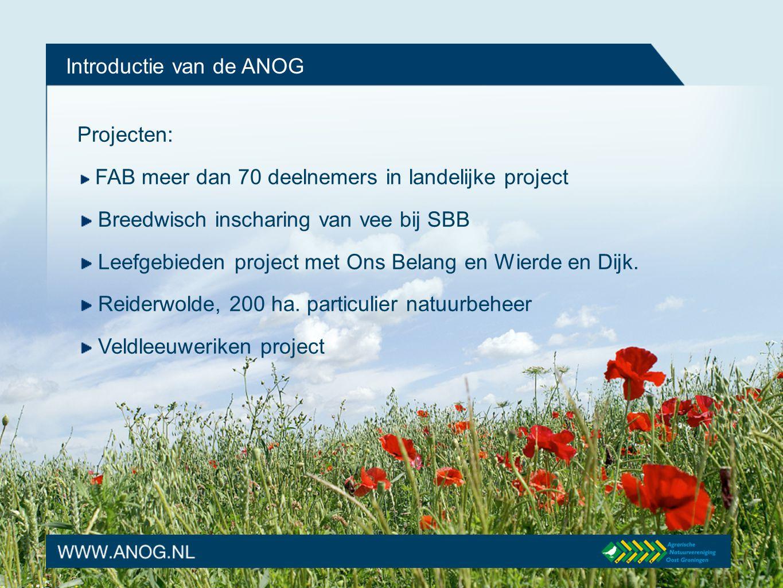 Introductie van de ANOG Projecten: ANOG in het dorp BBB gezamelijk initiatief van de Groningse ANV's Kneuen bosschages SNL