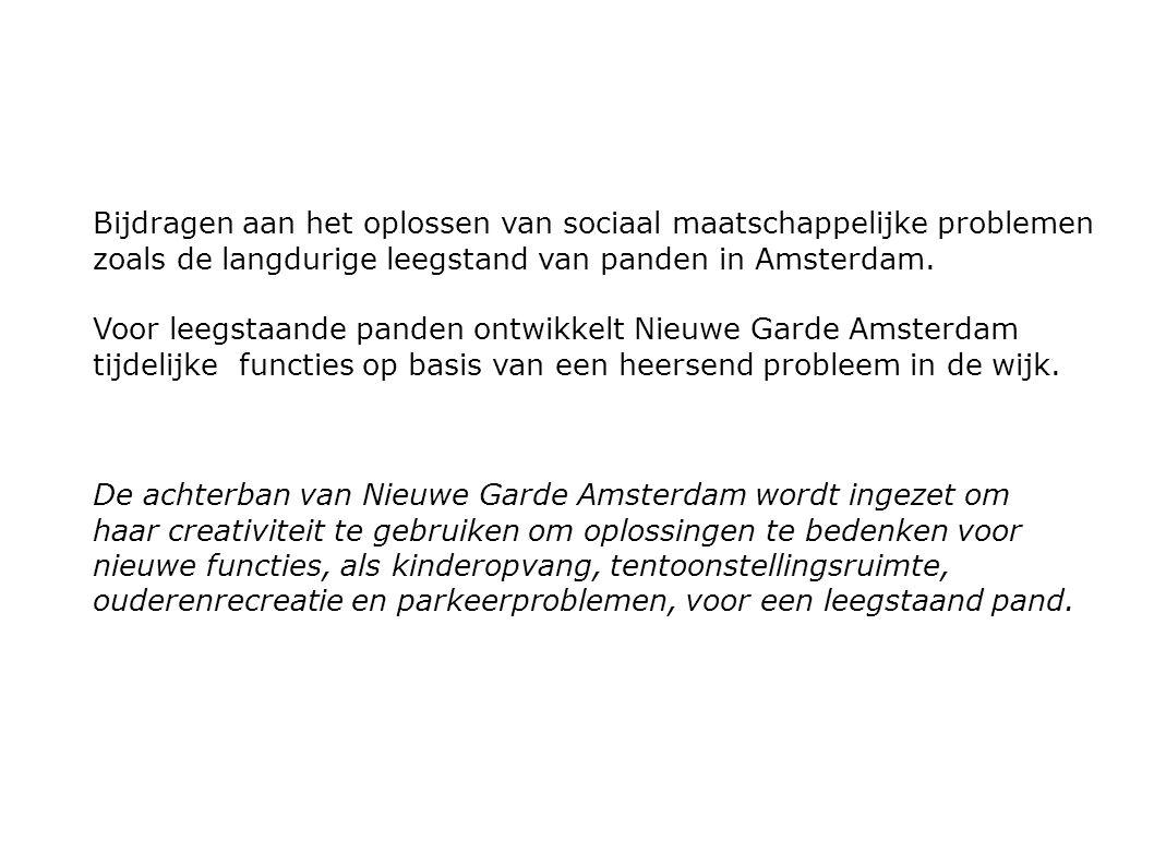 Bijdragen aan het oplossen van sociaal maatschappelijke problemen zoals de langdurige leegstand van panden in Amsterdam.