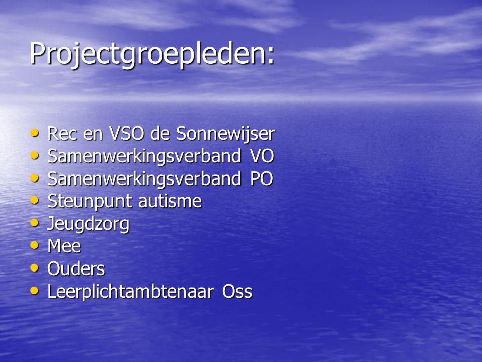Projectgroepleden: Rec en VSO de Sonnewijser Rec en VSO de Sonnewijser Samenwerkingsverband VO Samenwerkingsverband VO Samenwerkingsverband PO Samenwe