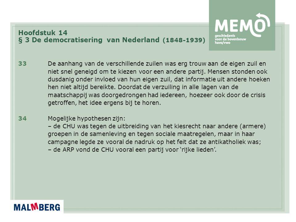Hoofdstuk 14 § 3 De democratisering van Nederland (1848-1939) 33De aanhang van de verschillende zuilen was erg trouw aan de eigen zuil en niet snel ge