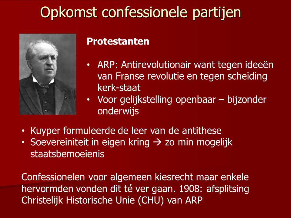 Protestanten ARP: Antirevolutionair want tegen ideeën van Franse revolutie en tegen scheiding kerk-staat Voor gelijkstelling openbaar – bijzonder onde