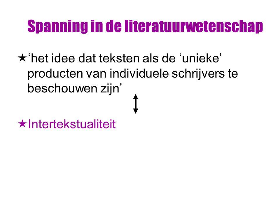 Spanning in de literatuurwetenschap  'het idee dat teksten als de 'unieke' producten van individuele schrijvers te beschouwen zijn'  Intertekstualiteit
