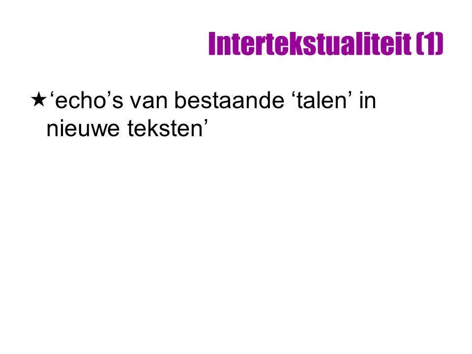 Intertekstualiteit (1)  'echo's van bestaande 'talen' in nieuwe teksten'