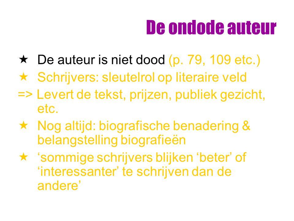 De ondode auteur  De auteur is niet dood (p. 79, 109 etc.)  Schrijvers: sleutelrol op literaire veld => Levert de tekst, prijzen, publiek gezicht, e