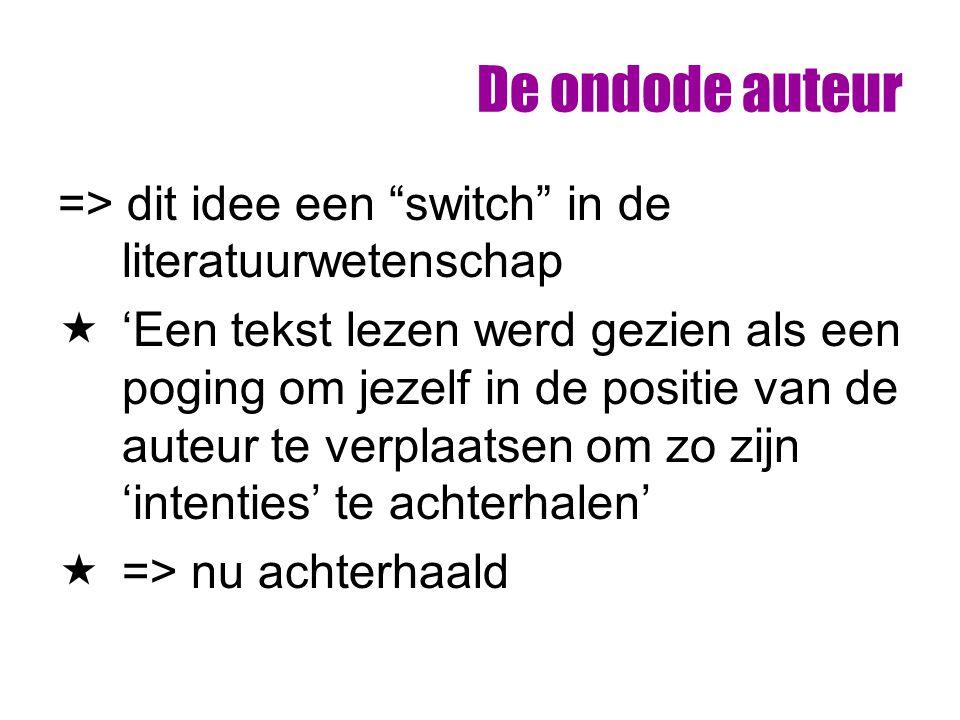 """De ondode auteur => dit idee een """"switch"""" in de literatuurwetenschap  'Een tekst lezen werd gezien als een poging om jezelf in de positie van de aute"""