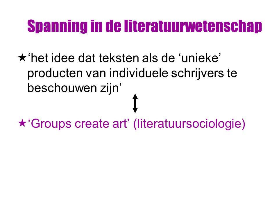 Spanning in de literatuurwetenschap  'het idee dat teksten als de 'unieke' producten van individuele schrijvers te beschouwen zijn'  'Groups create art' (literatuursociologie)
