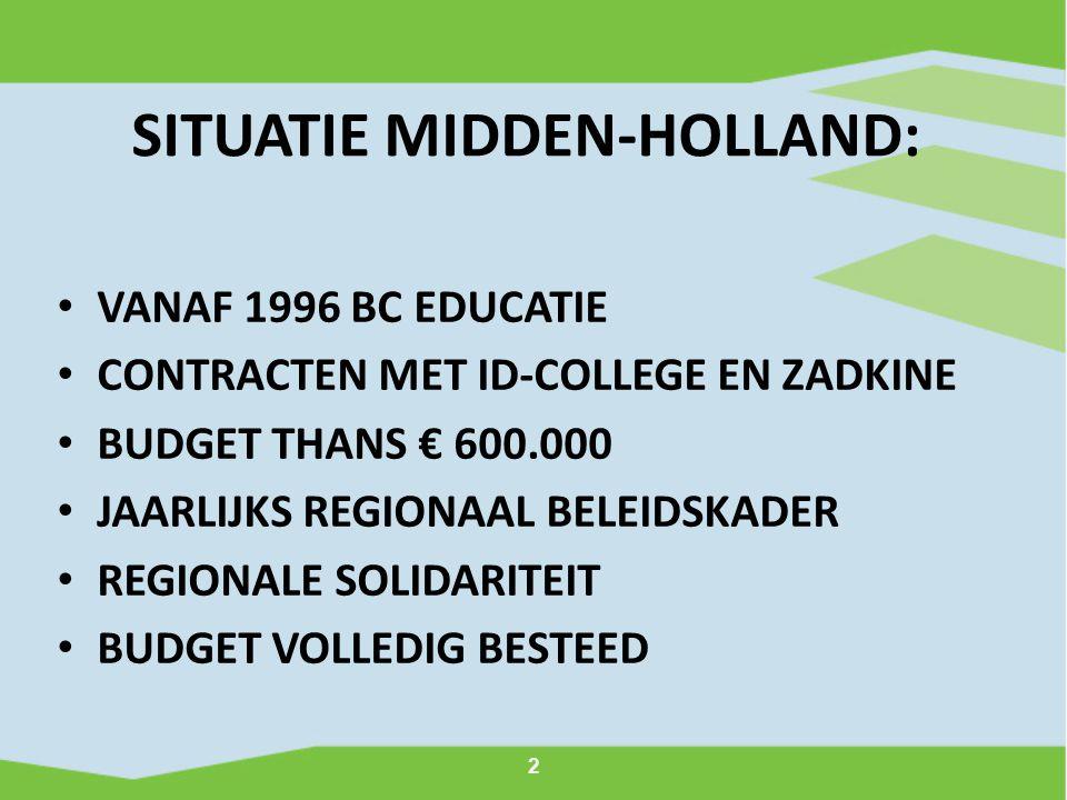 2 SITUATIE MIDDEN-HOLLAND: VANAF 1996 BC EDUCATIE CONTRACTEN MET ID-COLLEGE EN ZADKINE BUDGET THANS € 600.000 JAARLIJKS REGIONAAL BELEIDSKADER REGIONA