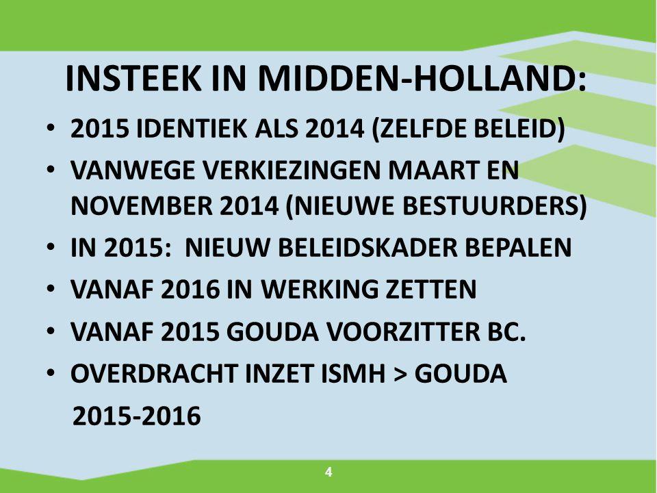 4 INSTEEK IN MIDDEN-HOLLAND: 2015 IDENTIEK ALS 2014 (ZELFDE BELEID) VANWEGE VERKIEZINGEN MAART EN NOVEMBER 2014 (NIEUWE BESTUURDERS) IN 2015: NIEUW BELEIDSKADER BEPALEN VANAF 2016 IN WERKING ZETTEN VANAF 2015 GOUDA VOORZITTER BC.