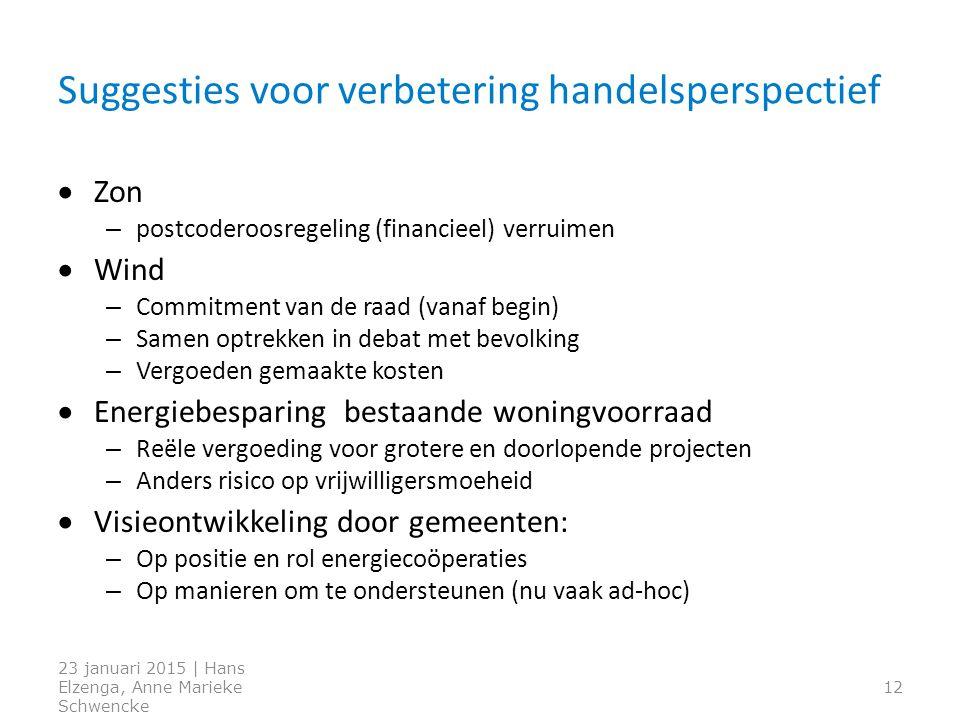 Suggesties voor verbetering handelsperspectief  Zon – postcoderoosregeling (financieel) verruimen  Wind – Commitment van de raad (vanaf begin) – Sam