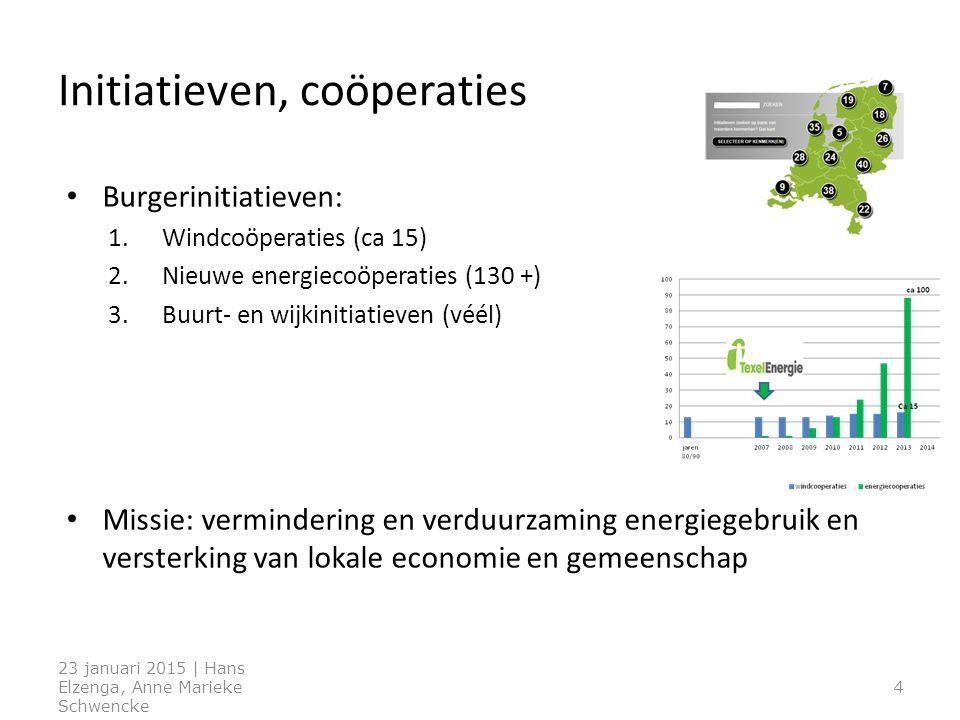 Burgerinitiatieven: 1.Windcoöperaties (ca 15) 2.Nieuwe energiecoöperaties (130 +) 3.Buurt- en wijkinitiatieven (véél) Missie: vermindering en verduurzaming energiegebruik en versterking van lokale economie en gemeenschap 4 Initiatieven, coöperaties 23 januari 2015 | Hans Elzenga, Anne Marieke Schwencke