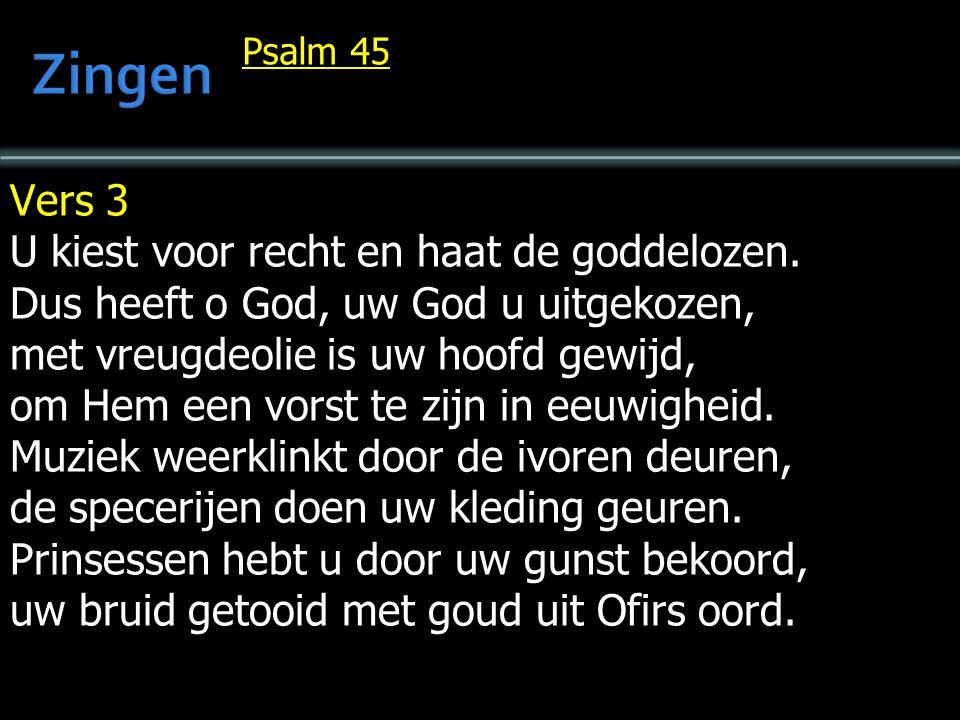 Psalm 45 Vers 3 U kiest voor recht en haat de goddelozen.