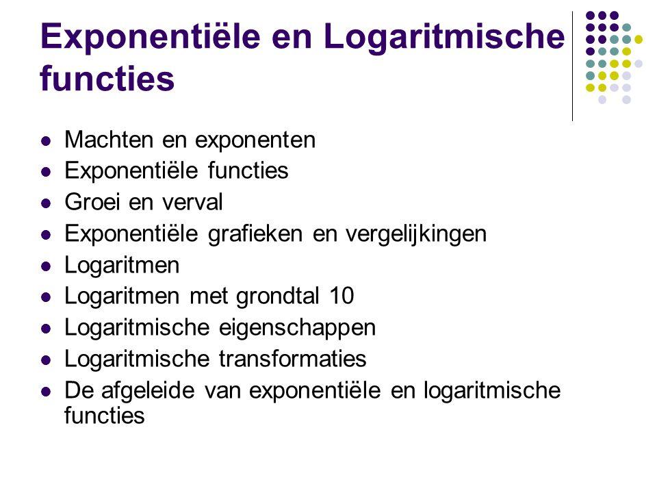 Exponentiële en Logaritmische functies Machten en exponenten Exponentiële functies Groei en verval Exponentiële grafieken en vergelijkingen Logaritmen Logaritmen met grondtal 10 Logaritmische eigenschappen Logaritmische transformaties De afgeleide van exponentiële en logaritmische functies