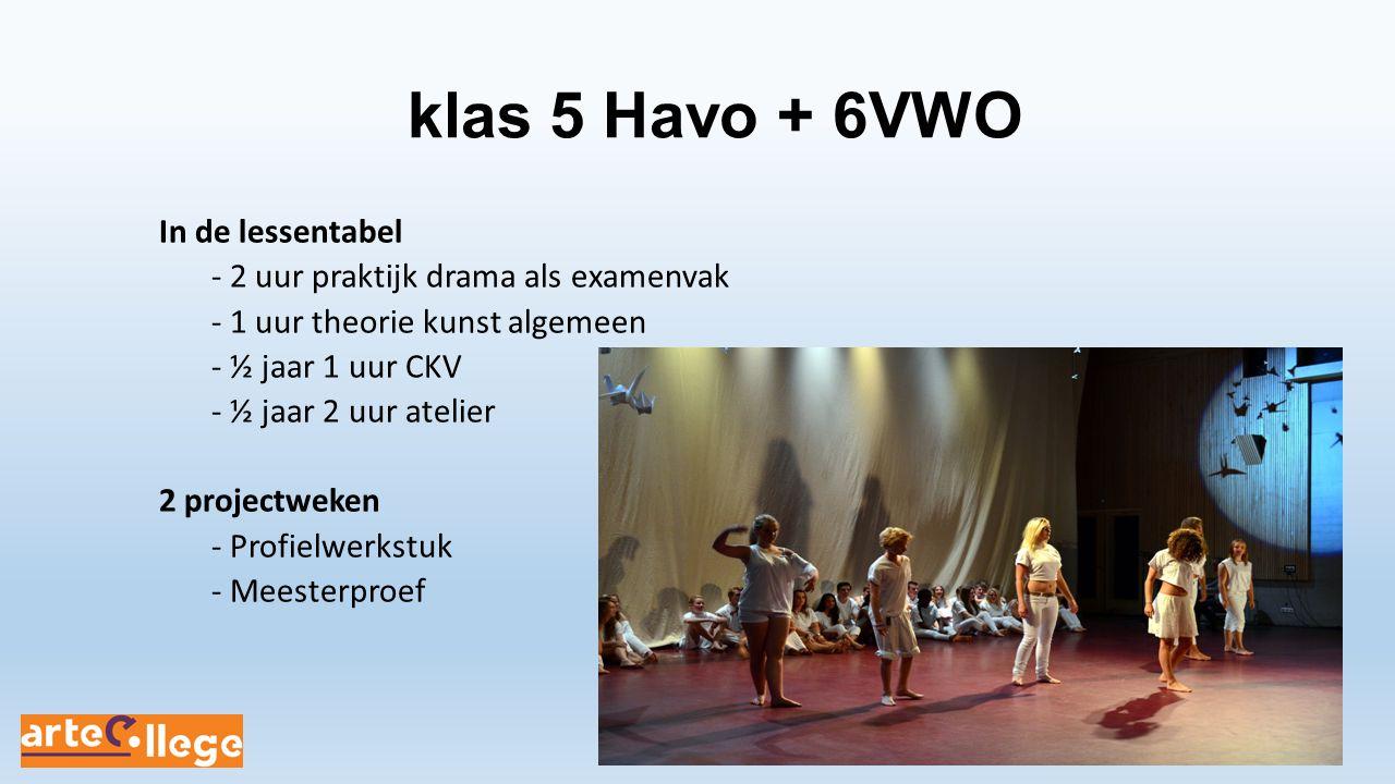 klas 5 Havo + 6VWO In de lessentabel - 2 uur praktijk drama als examenvak - 1 uur theorie kunst algemeen - ½ jaar 1 uur CKV - ½ jaar 2 uur atelier 2 p