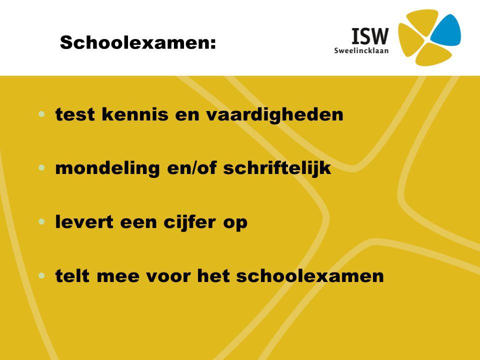 Schoolexamen: test kennis en vaardigheden mondeling en/of schriftelijk levert een cijfer op telt mee voor het schoolexamen