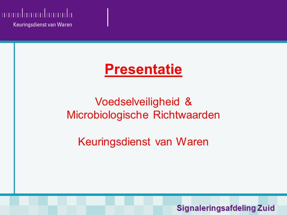 Signaleringsafdeling Zuid Presentatie Voedselveiligheid & Microbiologische Richtwaarden Keuringsdienst van Waren