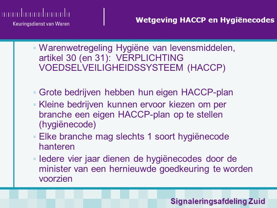 Signaleringsafdeling Zuid  Warenwetregeling Hygiëne van levensmiddelen, artikel 30 (en 31):VERPLICHTING VOEDSELVEILIGHEIDSSYSTEEM (HACCP)  Grote bedrijven hebben hun eigen HACCP-plan  Kleine bedrijven kunnen ervoor kiezen om per branche een eigen HACCP-plan op te stellen (hygiënecode)  Elke branche mag slechts 1 soort hygiënecode hanteren  Iedere vier jaar dienen de hygiënecodes door de minister van een hernieuwde goedkeuring te worden voorzien Wetgeving HACCP en Hygiënecodes