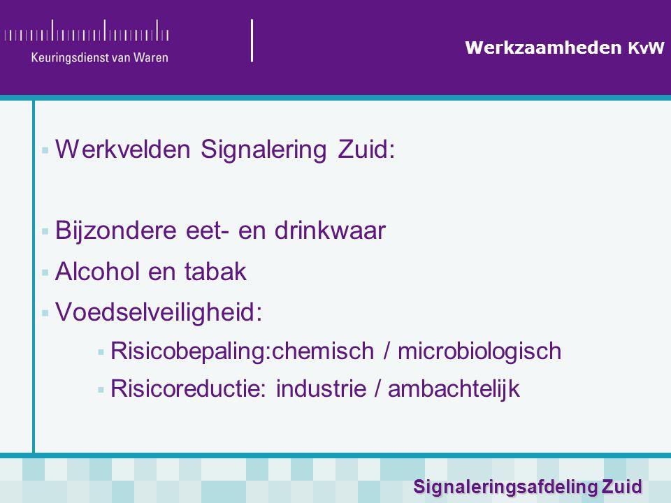 Signaleringsafdeling Zuid Werkzaamheden KvW  Werkvelden Signalering Zuid:  Bijzondere eet- en drinkwaar  Alcohol en tabak  Voedselveiligheid:  Risicobepaling:chemisch / microbiologisch  Risicoreductie: industrie / ambachtelijk