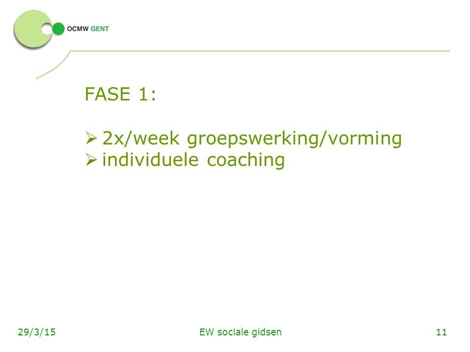 EW sociale gidsen1129/3/15 FASE 1:  2x/week groepswerking/vorming  individuele coaching