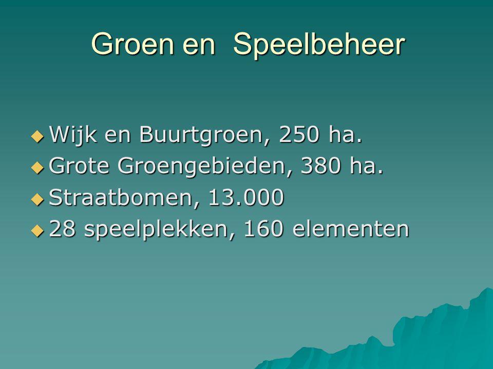 Groen en Speelbeheer  Wijk en Buurtgroen, 250 ha.  Grote Groengebieden, 380 ha.  Straatbomen, 13.000  28 speelplekken, 160 elementen