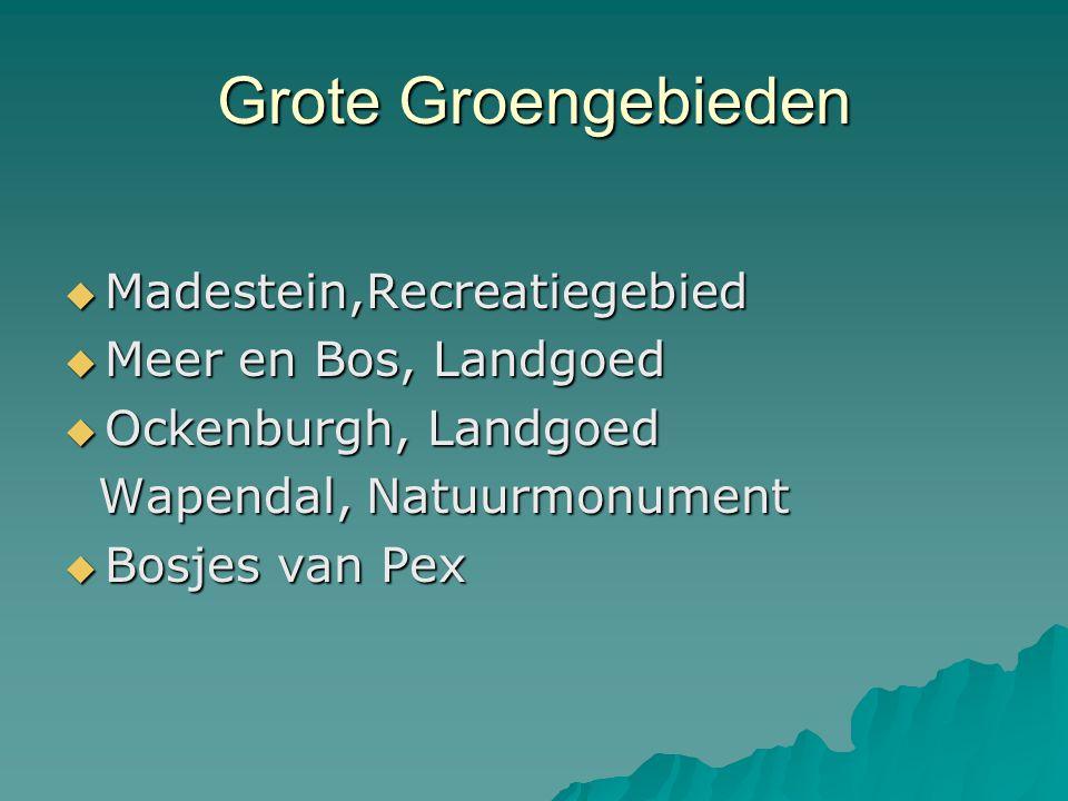 Grote Groengebieden  Madestein,Recreatiegebied  Meer en Bos, Landgoed  Ockenburgh, Landgoed Wapendal, Natuurmonument Wapendal, Natuurmonument  Bos