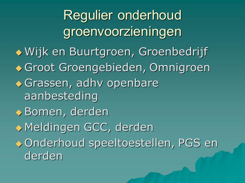 Regulier onderhoud groenvoorzieningen  Wijk en Buurtgroen, Groenbedrijf  Groot Groengebieden, Omnigroen  Grassen, adhv openbare aanbesteding  Bome