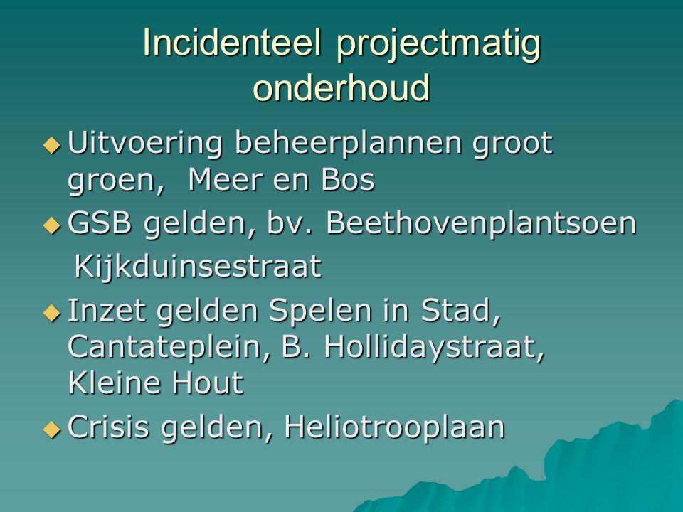Incidenteel projectmatig onderhoud  Uitvoering beheerplannen groot groen, Meer en Bos  GSB gelden, bv. Beethovenplantsoen Kijkduinsestraat Kijkduins