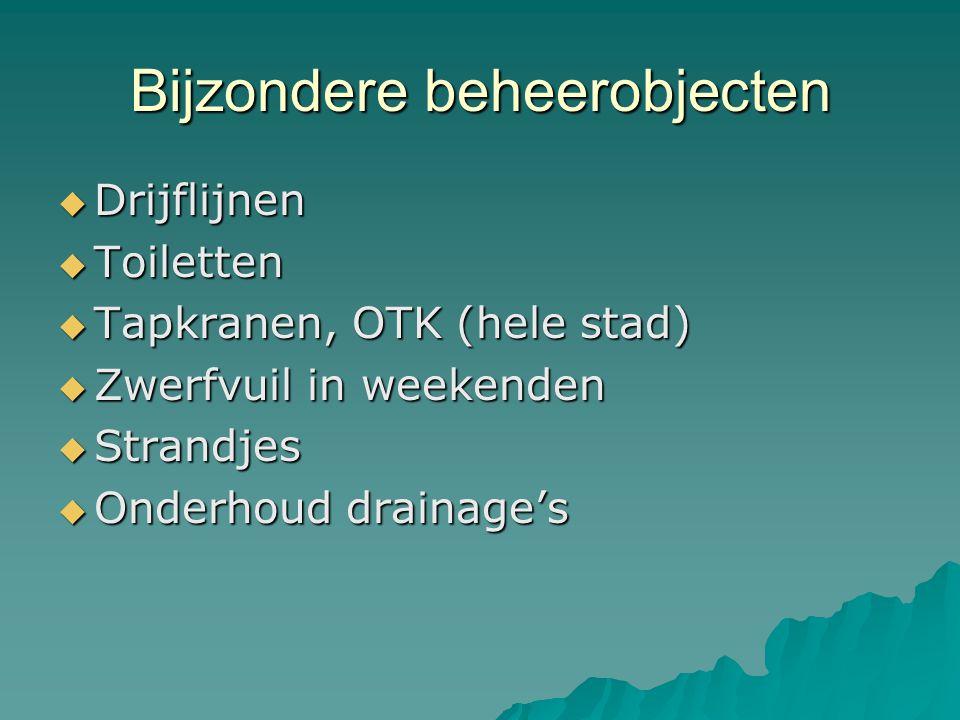 Bijzondere beheerobjecten  Drijflijnen  Toiletten  Tapkranen, OTK (hele stad)  Zwerfvuil in weekenden  Strandjes  Onderhoud drainage's