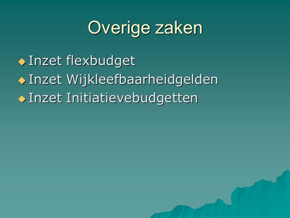 Overige zaken  Inzet flexbudget  Inzet Wijkleefbaarheidgelden  Inzet Initiatievebudgetten