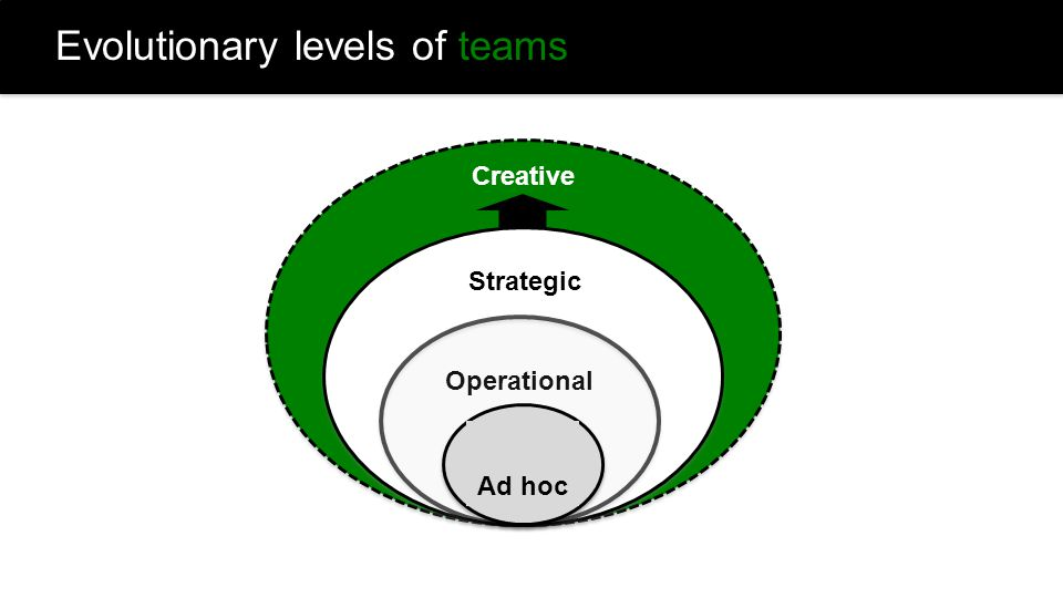 Creative Strategic Operational Evolutionary levels of teams Ad hoc