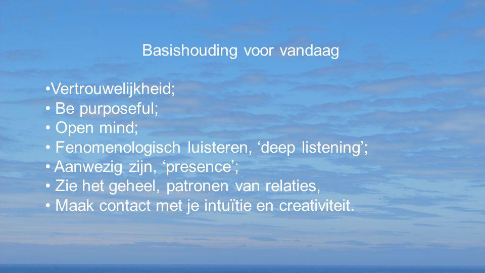 Basishouding voor vandaag Vertrouwelijkheid; Be purposeful; Open mind; Fenomenologisch luisteren, 'deep listening'; Aanwezig zijn, 'presence'; Zie het geheel, patronen van relaties, Maak contact met je intuïtie en creativiteit.