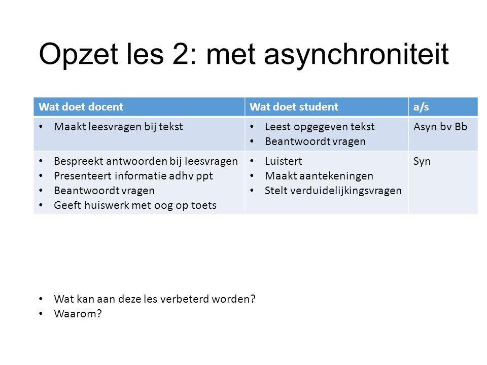 Opzet les 2: met asynchroniteit Wat doet docentWat doet studenta/s Maakt leesvragen bij tekst Leest opgegeven tekst Beantwoordt vragen Asyn bv Bb Besp