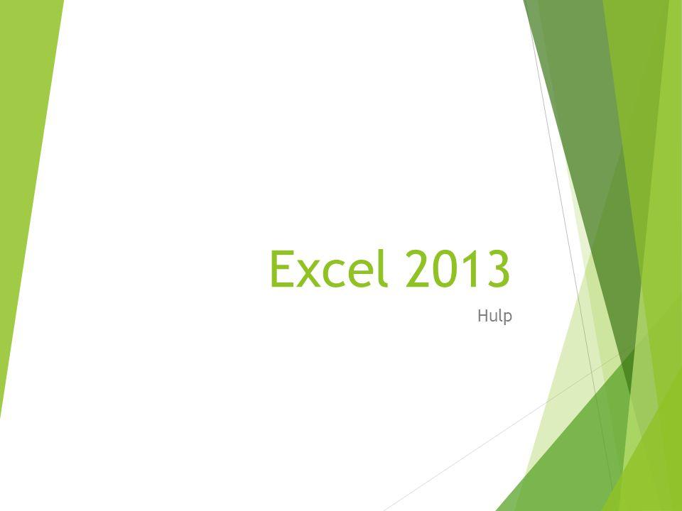 Excel 2013 Hulp