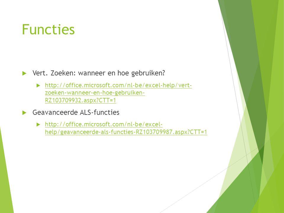 Functies  Vert. Zoeken: wanneer en hoe gebruiken?  http://office.microsoft.com/nl-be/excel-help/vert- zoeken-wanneer-en-hoe-gebruiken- RZ103709932.a