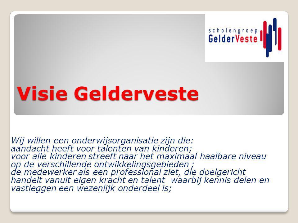 Visie Gelderveste Wij willen een onderwijsorganisatie zijn die: aandacht heeft voor talenten van kinderen; voor alle kinderen streeft naar het maximaa