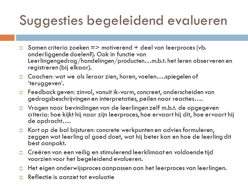 Suggesties begeleidend evalueren  Samen criteria zoeken => motiverend + deel van leerproces (vb. onderliggende doelen?). Ook in functie van Leerlinge