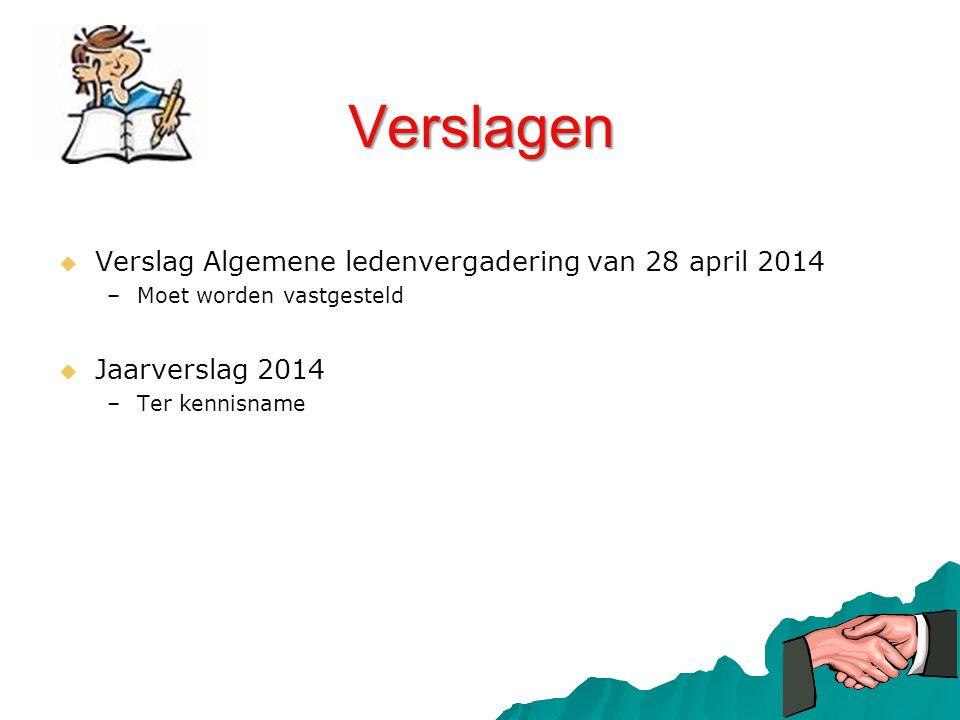 Verslagen   Verslag Algemene ledenvergadering van 28 april 2014 – –Moet worden vastgesteld   Jaarverslag 2014 – –Ter kennisname