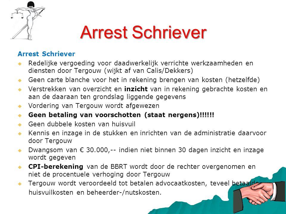 Arrest Schriever   Redelijke vergoeding voor daadwerkelijk verrichte werkzaamheden en diensten door Tergouw (wijkt af van Calis/Dekkers)   Geen ca