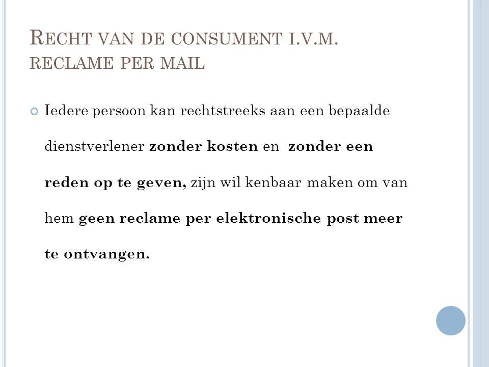 R ECHT VAN DE CONSUMENT I. V. M.