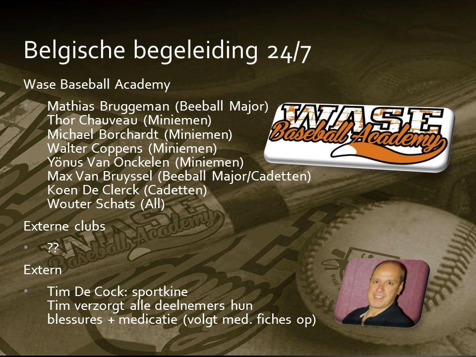 Belgische begeleiding 24/7 Wase Baseball Academy Mathias Bruggeman (Beeball Major) Thor Chauveau (Miniemen) Michael Borchardt (Miniemen) Walter Coppen