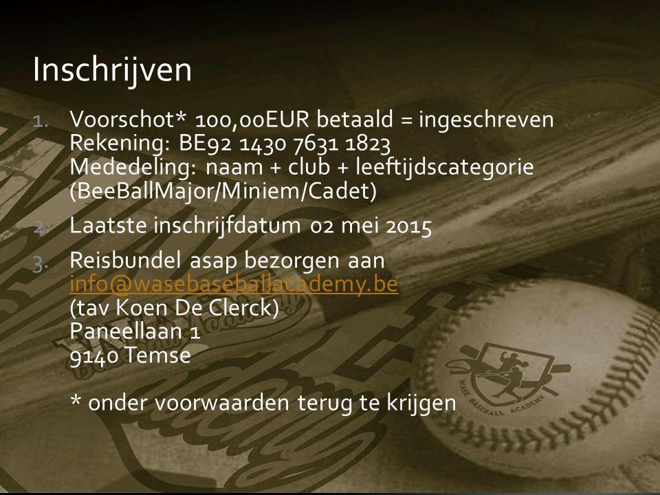 Inschrijven 1.Voorschot* 100,00EUR betaald = ingeschreven Rekening: BE92 1430 7631 1823 Mededeling: naam + club + leeftijdscategorie (BeeBallMajor/Min