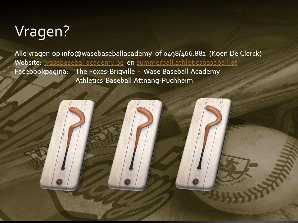 Vragen? Alle vragen op info@wasebaseballacademy of 0498/466.882 (Koen De Clerck) Website: wasebaseballacademy.be en summerball.athleticsbaseball.at Fa