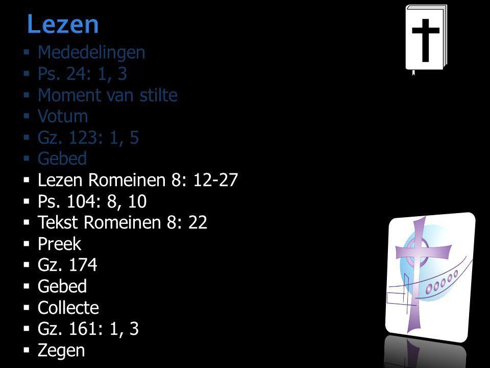 Lezen  Mededelingen  Ps. 24: 1, 3  Moment van stilte  Votum  Gz. 123: 1, 5  Gebed  Lezen Romeinen 8: 12-27  Ps. 104: 8, 10  Tekst Romeinen 8: