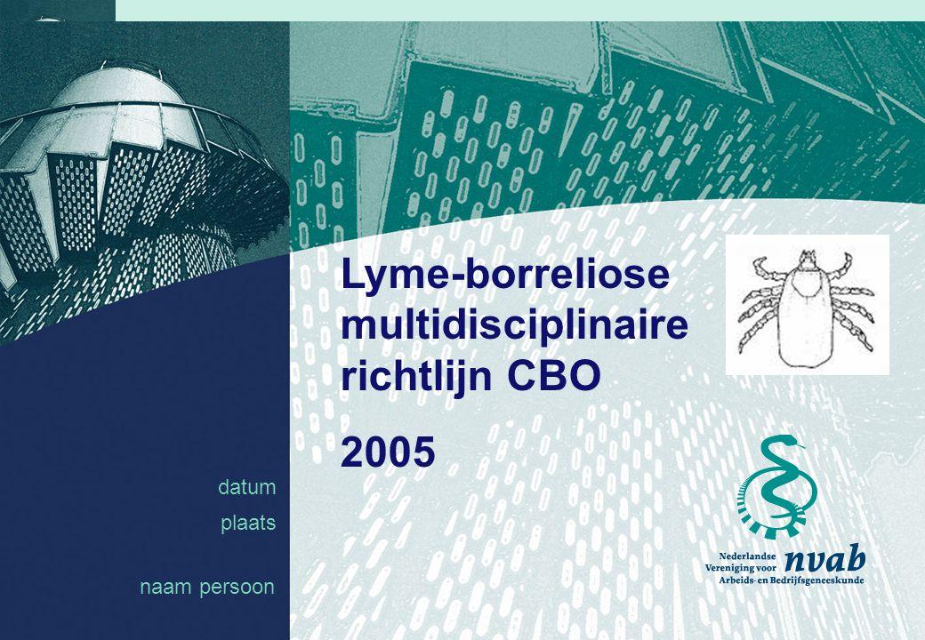 datum naam 1 datum plaats Lyme-borreliose multidisciplinaire richtlijn CBO 2005 naam persoon