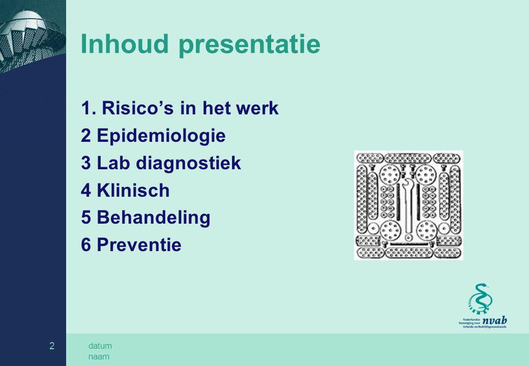 datum naam 2 Inhoud presentatie 1. Risico's in het werk 2 Epidemiologie 3 Lab diagnostiek 4 Klinisch 5 Behandeling 6 Preventie