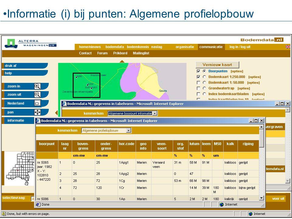 Informatie (i) bij punten: Algemene profielopbouw