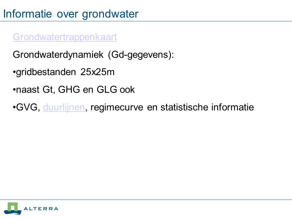Grondwatertrappenkaart Grondwaterdynamiek (Gd-gegevens): gridbestanden 25x25m naast Gt, GHG en GLG ook GVG, duurlijnen, regimecurve en statistische in